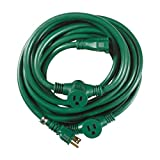 Woods 3030 Yard Master Outdoor 25 Foot Extension Cord with Evenly-Spaced Plugs Ideal for Landscaping Lighting, 3 Outlet design, 14-gauge, 15 AMP, 125 volt, 1875 watt, UL Listed, Green