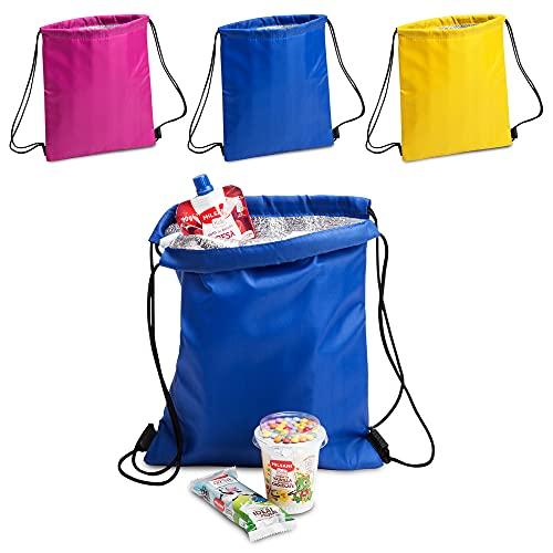 Antevia – Lote de 3 bolsas isotérmicas 27 x 33 cm   Más de 10 modelos   Nevera   Material: poliéster 210D   Color: azul amarillo y morado (Tradan)