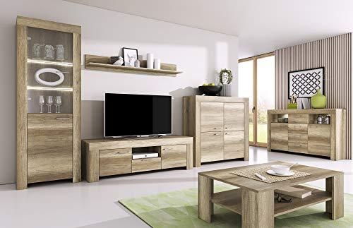 Furniture24 Wohnzimmer Set Wohnwand Sky Tv Schrank Vitrine Hängeregal Kommode Sideboard Couchtisch (Country Grau)