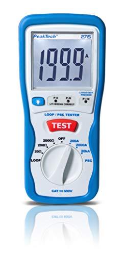 PeakTech 2715 – Digitaler PSC Schleifentester mit LCD Anzeige, Loop Tester, Prüfgerät für Impedanz Messungen, Kurzschluss Strommessgerät, Stromkreis Sicherung, Isoliertes Gehäuse - CAT III 600 V