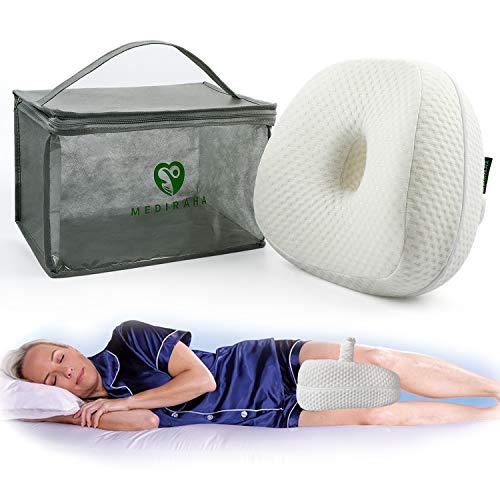MEDI Raha Cojín para rodillas de dormir de espuma viscoelástica cojín para piernas ergonómico desenfundable y lavable cojín ortopédico para aliviar el dolor de piernas y espalda