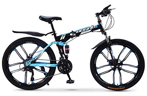 WANG-L Bicicletas De Montaña Plegables De 26 Pulgadas para Adultos Hombres Mujeres Doble Absorción De Impactos Todoterreno Velocidad Variable Carreras Bicicleta MTB,Blue-30speed/26inches