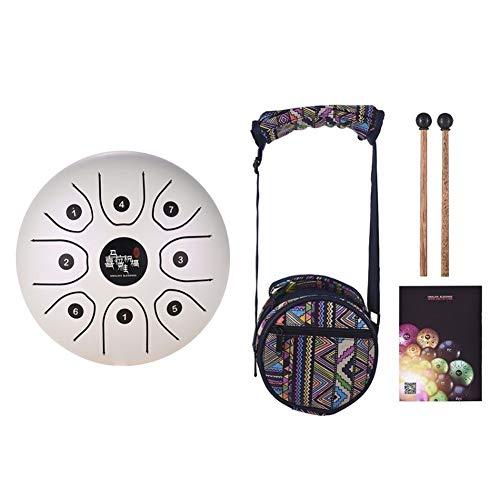 5,5 Zoll Tongue Drum Mini 8-Ton-Stahlzunge Drum C Key Hand Pan Drum mit Trommel-Schlägel Carry Bag Schlaginstrument (Color : Pearl)