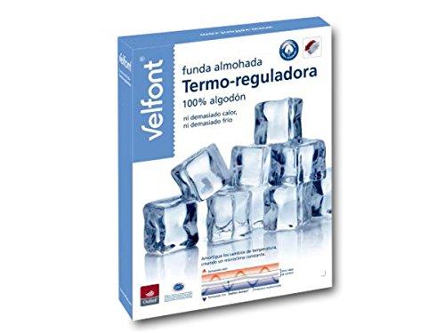 Velfont Funda Almohada Termo-reguladora 100% algodon - Temperatura Constante Durante la Noche (80cm)