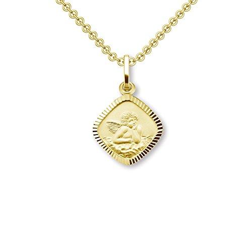 Engelanhänger Engel Kette Gold (Silber 925 hochwertig vergoldet) Schutzengel Anhänger Engelchen + Luxus-Etui + Taufkette Gravurplatte kleiner Engel Goldkette Engelsanhänger mit Kette FF472 VGGG45