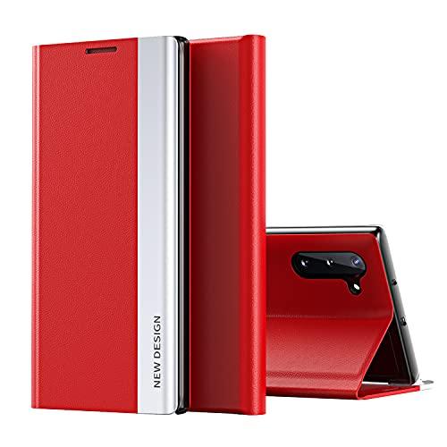 Galaxy Note 10 Funda, Midcas Ultra-Delgado Cierre Magnético Flip Cover Piel sintética Carcasa con Soporte Plegable para Samsung Galaxy Note 10 Rojo