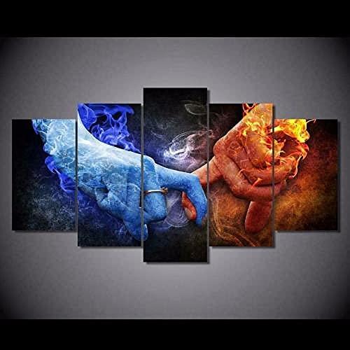 Stampe E Quadri su Tela 5 Pezzi Quadro Moderno Fuoco & Ghiaccio Amore Rosso & Blu HD Decorazione Casa Soggiorno Astratto Tela Immagini con Cornici Pronto da Appendere