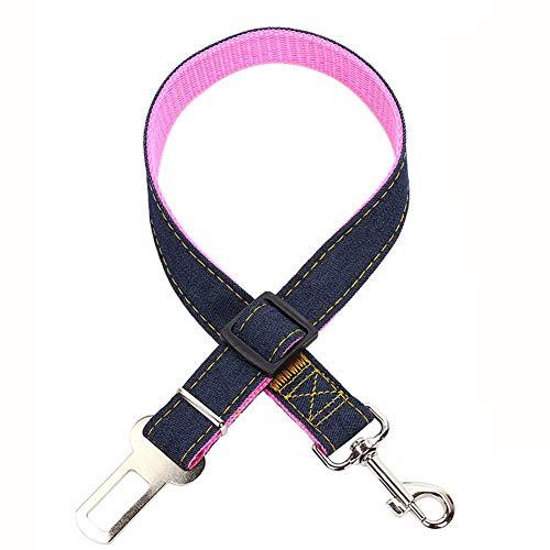 Veiligheidsgordel voor huisdierauto's, hondenriem, intrekbare hondenriem, veiligheidsgordel voor huisdierauto's, verstelbare veiligheidsgordel voor nylon cowboy-hondenauto's, gedragende veiligheidsgordel voor W, size, roze