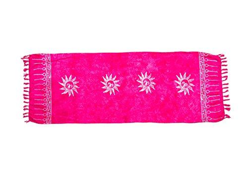 MANUMAR sarong donna non trasparente come mini-gonna (155x55cm) | pareo bambini telo da mare | gonna a portafoglio | foulard leggero rosa fluorescente sfrangiato con motivo di sole | spiaggia |