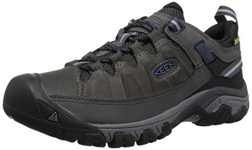 KEEN Men's Low Height Waterproof Hiking Shoe, Steel Grey/Captains Blue, 10 M US