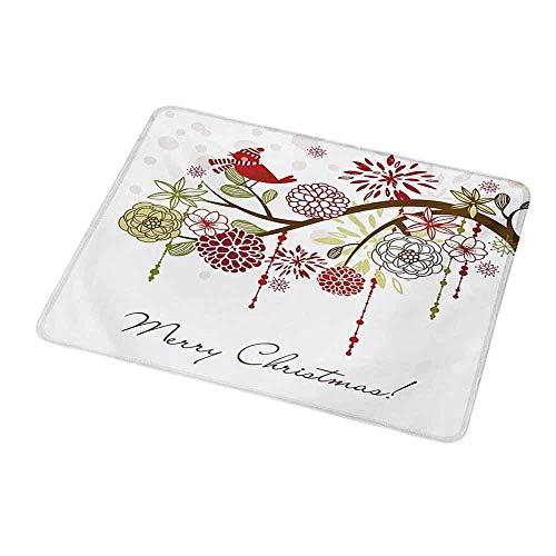 Rutschfeste Rechteck Mousepad Weihnachten, Heilige Blumen Winter Winter Vogelhut und Schal auf blühenden Baum Natur inspiriert, Grün Weiß für Frauen