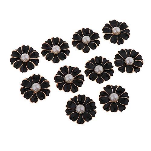 Sharplace 10pcs Flor de Margaritas de Metal Botón de Flores de Coser Ropa DIY, 32x32x5mm - negro + perla