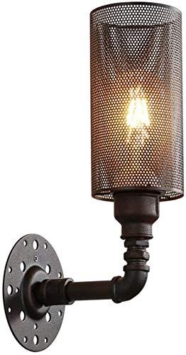 Luces de pared industriales, Lámpara de pared de tubería de agua industrial Negro Steampunk Pared Luz Vintage Metal Rejilla Pantalla Aplique para Interior Sala de estar Dormitorio Escaleras Corredor S