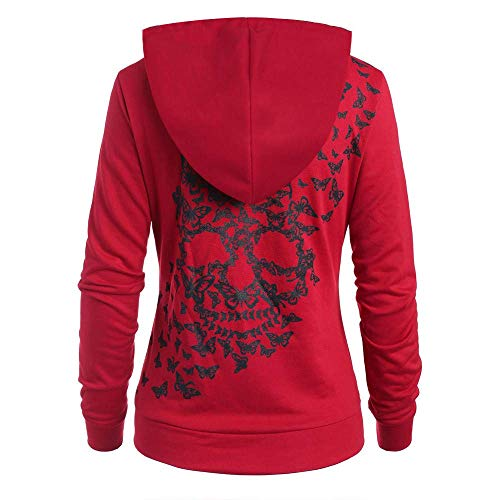 Womens Fashion Butterflies Skull Print Hoodie Kangaroo Pocket Hooded Sweatshirt Oberteile Fashion 2020 Festlich Damen Kleidung (Color : Rot, One Size : S)