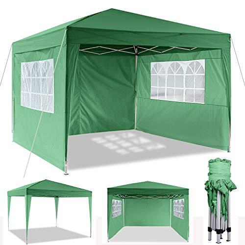 Cenador plegable 3 x 3 m / 3 x 6 m, resistente al agua, para jardín, para fiestas, festivales, gazebo plegable, protección solar (3 x 3 m), color verde