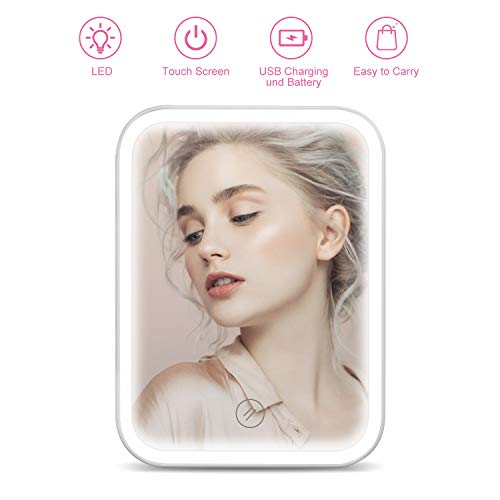 Makeup Mirror with Lights HOCOSY Travel Vanity LED Mirror with stand Touch Screen Switch Dual Power Supply nature light Portable amp Tabletop lighted Cosmetic Mirror