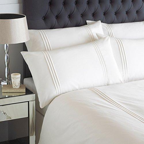 Linens Limited - Parure Linear - Housse de Couette/taie d'oreiller - plissé - crème - 2 Personnes (Super King)