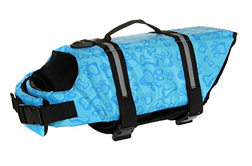 Surblue Dog Life Jacket Flotation Vest Saver Swimsuit Preserver Pet Adjustable Safety Coat for Water Safety at The Pool, Beach, Boating,Swimming (Small, Blue)
