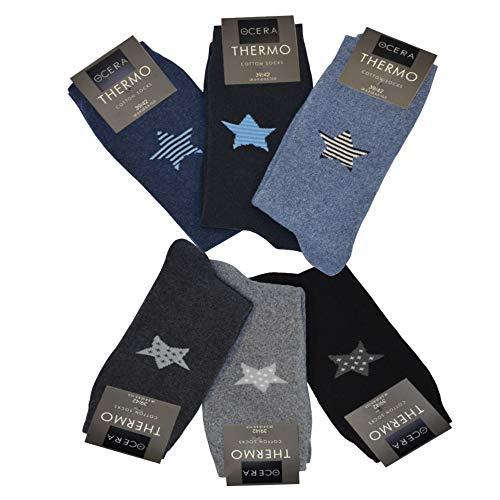 OCERA 6 Paar Thermo Socken für Damen mit Sternenlogo im Farbmix Schwarz/Anthrazit/Grau- & Marine-Mix Gr. 39/42