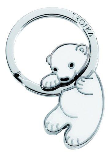 TROIKA POLAR BABY SCHLÜSSELANHÄNGER - KR8-03/WH - Schlüsselanhänger Eisbär-Baby - Metallguss - glänzend - verchromt - weiß - das Original von TROIKA