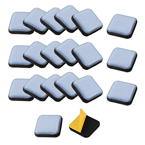 TANCUDER 20 PCS Furniture Gliders Slider for Hardwood Floors, 25 x 25 mm Teflon Gliders Self Adhesive Chair Leg Square PTFE Furniture Moving Pads Self-Stick Carpet Protector for Furniture Easy Movers