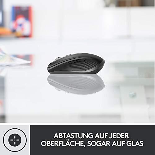Logitech MX Anywhere 3 kompakte, leistungsstarke Maus – Kabellos, Magnetisches Scrollen, ergonomisch, anpassbare Tasten, USB-C, Bluetooth, Apple Mac, iPad, Windows PC, Linux, Chrome - Grafit - 7