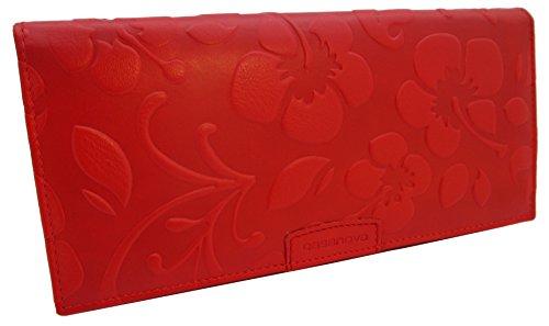 KissMe Collection Portefeuille en cuir pour femme - Fabriqué en Espagne - 100% Cuir Véritable Porte-monnaie - Fleur en Relief Noir