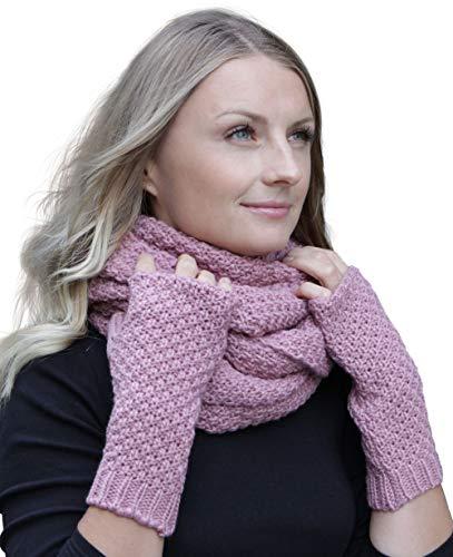 Hilltop Winter Kombi Set aus Winter Schal und wahlweise Handschuhe oder Handwärmer, 2-tlg, versch. Farben, WS Farbe/Zusammensetzung:Altrosa mit Handwärmern