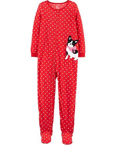 Carter's Girls 1 Piece Zip-Up French Bulldog Fleece Red with White Hearts Footed Blanket Pajamas, Size 4