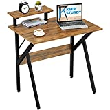 GreenForest Small Computer Desk 32', Writing Desk with Moveable Shelf for Home Office Workstation, Walnut