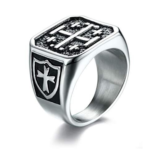 Graviertes Jerusalemer Kreuz Religiöser Siegelring Fünffache mittelalterliche christliche Ritter Templer Symbol Siegelband Ringe