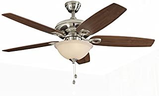 Harbor Breeze COASTAL CREEK 52-in Brushed Nickel Downrod or Close Mount Indoor Ceiling Fan with Light Kit