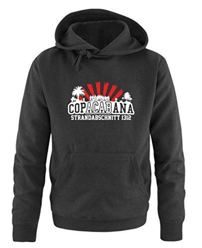 Comedy Shirts - Copacabana Strandabschnitt 1312 - Herren Hoodie - Schwarz / Weiss-Rot Gr. L
