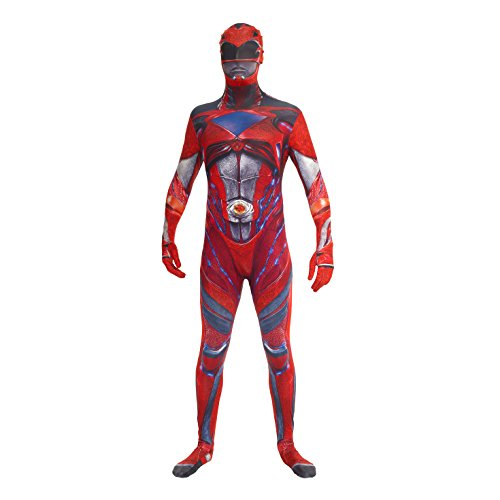 Morphsuits Mlprmdrm 150-162cm ufficiale Red Deluxe Movie Power Ranger Fancy Dress costume (Medium)