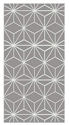 Panorama Tappeto Vinile Stelle Geometriche Grigie 140x200 cm - Tappeto da Cucina Piastrelle Antiscivolo - Tappeto Moderno Salotto - Tappeto Lavabile Ignifugo - Tappeto Grande - Tappeto PVC