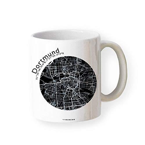 Tasse Dortmund - Bürotasse Kaffeebecher farbige Stadtkarte Städtetasse - Personalisierte Geschenkidee für Kollegen Kollegin Architekt Richtfest Fernweh Heimweh