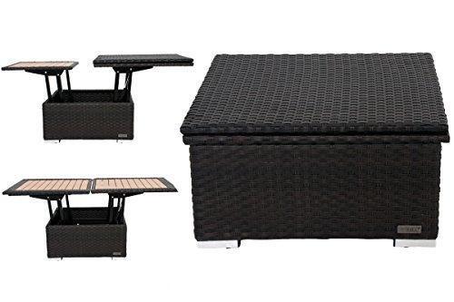 OUTFLEXX höhenverstellbarer Loungetisch aus hochwertigem Polyrattan in braun, Gartentisch, Kaffeetisch, 75 x 75 x 40 cm, Esstisch, 152 x 75 x 64,5 cm, Tischplatte in Holzoptik, inkl. Abdeckhaube