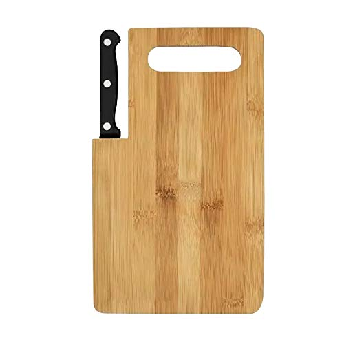 Bamboo Cutting Board Small Wood Board with Handle Build in...