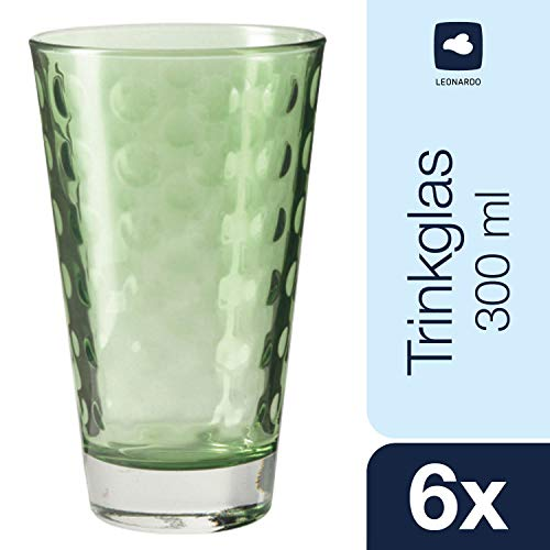 Leonardo Optic Becher groß Verde, 6-er Set, 300 ml, hellgrünes Klarglas mit Colori-Hydroglasur, 018008