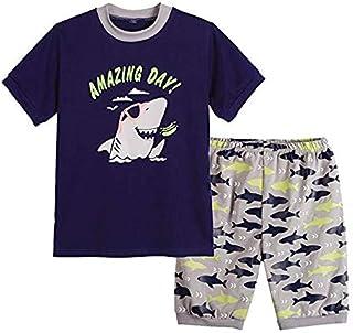 MyFav Big Boys Pajamas 2 Piece Short PJS Cartoon Shark Sleepwear