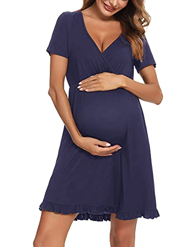 Doaraha Camisón Lactancia Algodón Mujer Ropa de Dormir Premamá Hospital Vestido de Maternidad Embarazo Pijama Embarazadas Camisones Embarazada Manga Corta Suave (B# Azul Marino - Manga Corta, S)