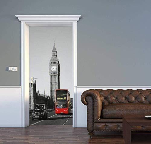 FDASLJ 3D Türaufkleber Wandbild Türposter 95 X 215 CM Schwarz London Uhrturm Rot Bus Türtapete Selbstklebend Türposter 3D Bewirken Fototapete Türfolie Poster Tapete Abnehmbar Wandtapete Für Wohnzimme