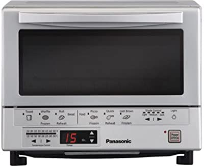 """Panasonic 1300 Watts FlashXpress Toaster Oven, Features Instant Double Infrared Heating, with 6 Illustrated Preset Buttons and Automatically Calculates Cooking Time, Includes a Digital Timer with Reminder Beep and a 9"""" Square Inner Tray with Removable Crumb Tray"""