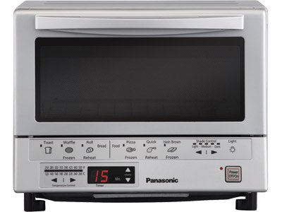 Panasonic 1300 Watts FlashXpress Toaster Oven, Features Instant Double Infrared Heating, with 6 Illustrated Preset Buttons and Automatically Calculates Cooking Time, Includes a Digital Timer with Reminder Beep and a 9' Square Inner Tray with Removable Crumb Tray