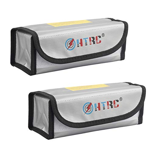 HTRC Fireproof Explosionproof Lipo Battery Safe Bags, 2 Pcs Guard Bags for Charge & Storage