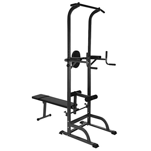 Find Bargain GFHFHITJ Exercise Tower - Workout Dip Station Sit up Bench Adjusting Height - Home Gyms...