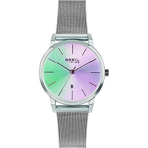 Breil - Reloj de mujer Avity Irisscent con esfera de color plateado, movimiento solo la hora, 3H cuarzo y malla de acero EW0537