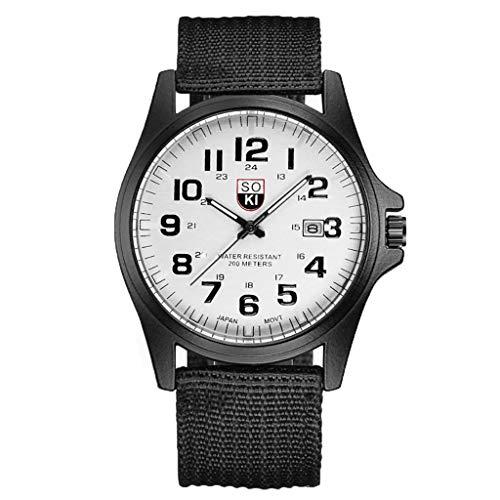 XTBL Herren Armbanduhr Gewebte Nylon uhr Herren Chronograph Quarz Uhr Mode Herren Militäruhr Einfachheit Herrenuhr Military Chronograph Uhren Wecker
