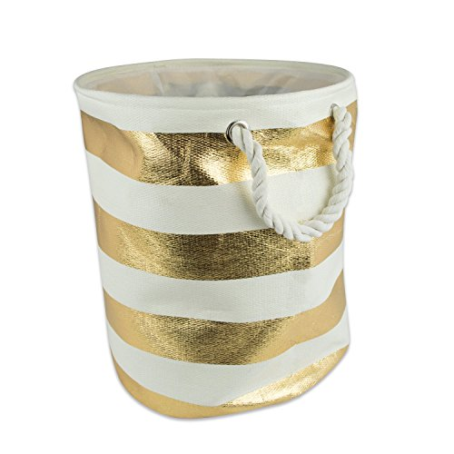 DII Woven Paper Collapsible Laundry Hamper/Storage Basket, 13.75x13.75x12, Round, Gold Stripe