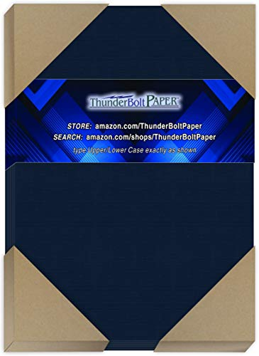 "150 Dark Navy Blue Linen 80# Cover Paper Sheets - 5"" X 7"" (5X7 Inches) Photo
